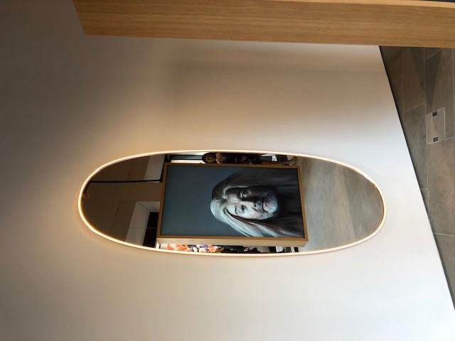 FLOSのLA PLUS BELLE、デザイナーはPhilippe Starck、犬とスタルクの顔がシンクロする動画を鏡に写し込むシニカルな特殊演出