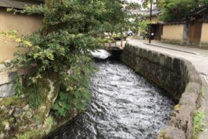 金沢長町やすらぎ緑地、用水、水量豊か、せせらぎ、石川県金沢市